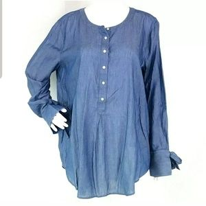 Loft Chambray Tie Bell Sleeve Blouse L14